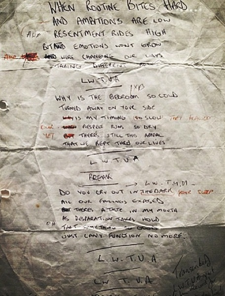 Handwritten lyrics for